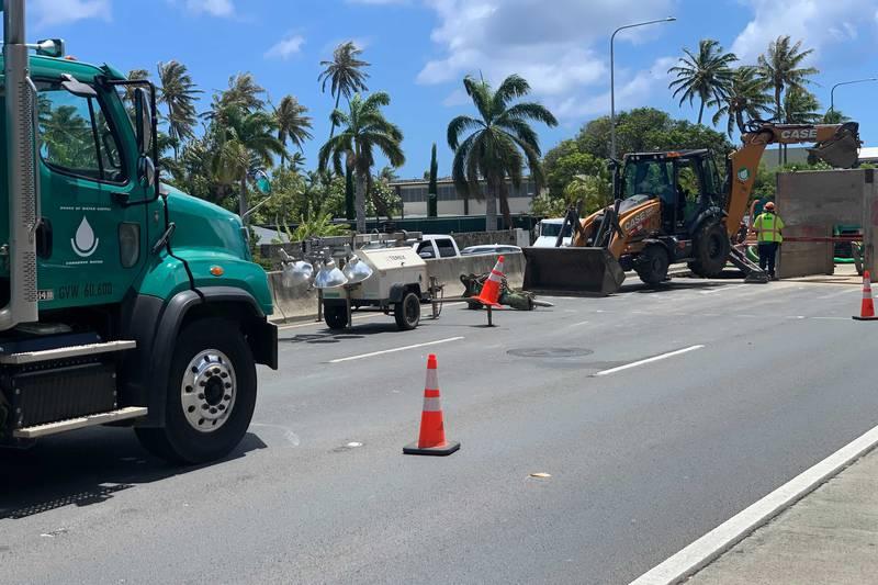 Crews were making repairs Sunday, causing a traffic headache.