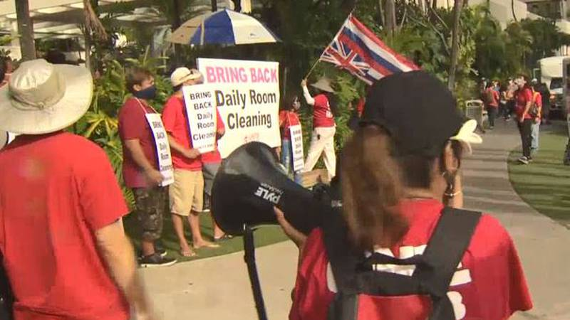 Union members rallied in Waikiki on Friday to call for hotels to bring back more housekeeping...
