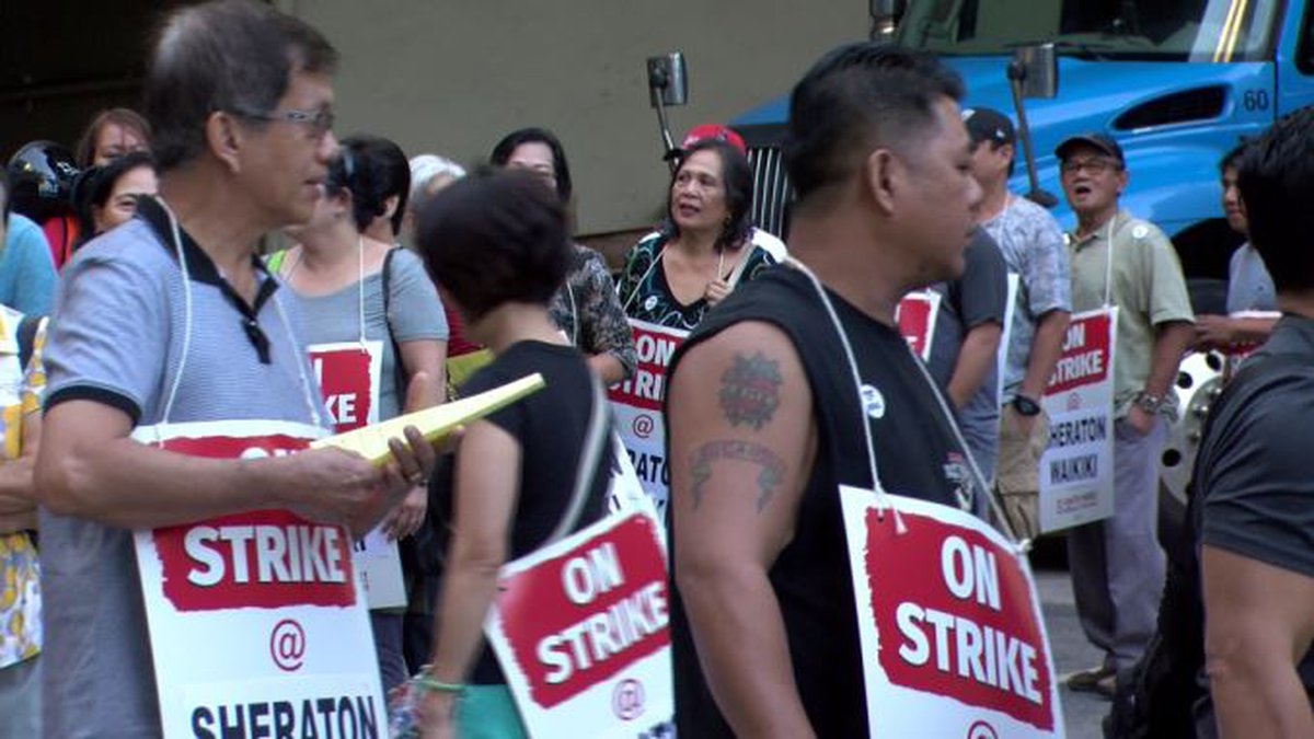 Thousands of hotel workers are on strike in Waikiki.