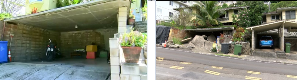 The photo on the right show the garage on Waiomao Road nearly two years ago. The photo on the...