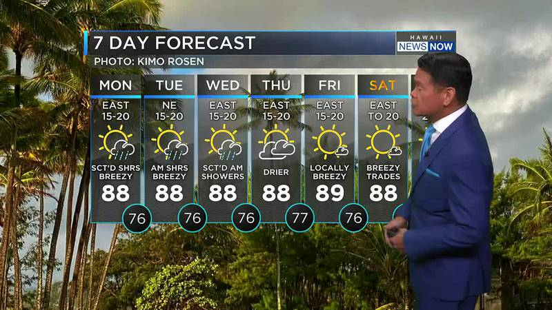 Windward Maui and the Big Island will see a wet weather pattern for the next few days.