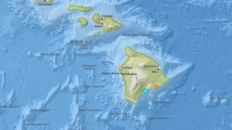 The turquoise dot indicates the area of the earthquake. The orang marker is the area of a...