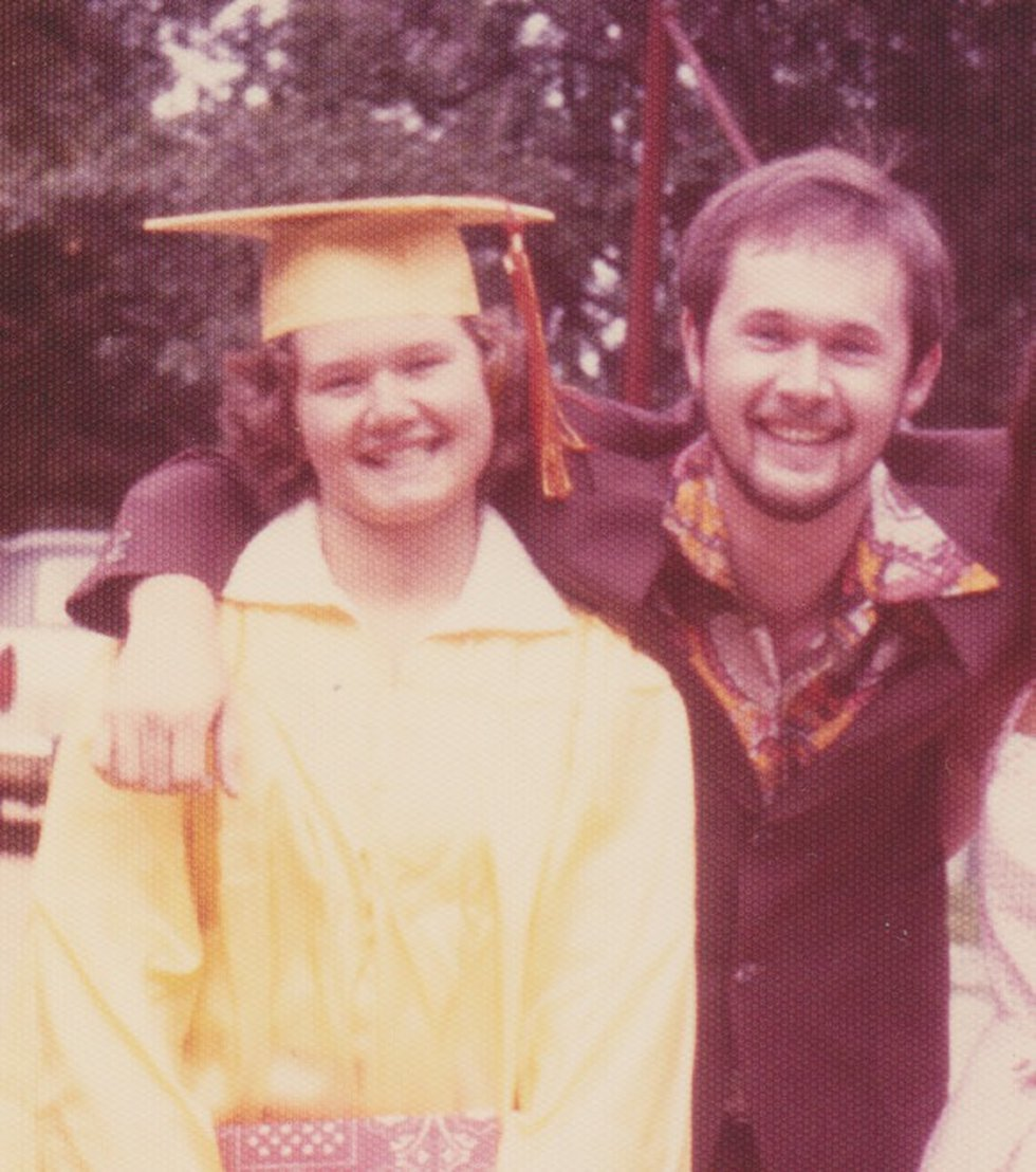 Raymond Petry (right) with his sister Marsha Petry during her high school graduation.