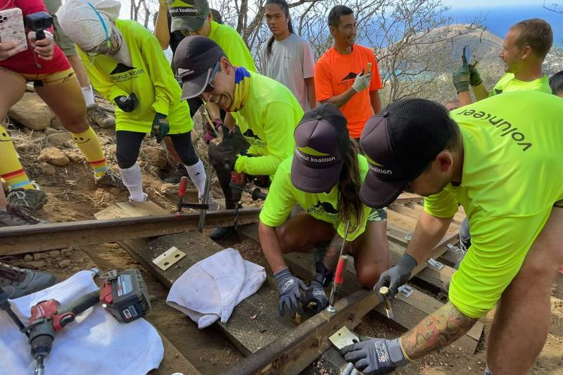 The final step on the Koko Crater Trail was installed on Saturday.