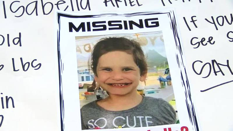 """Monday marks one week since 6-year-old Isabella """"Ariel"""" Kalua was reported missing."""
