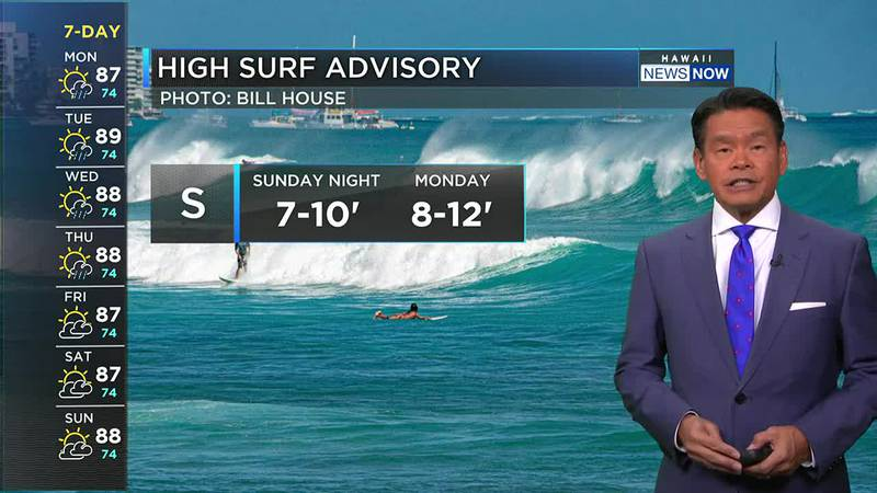 A high surf advisory has been posted for all south-facing shores.