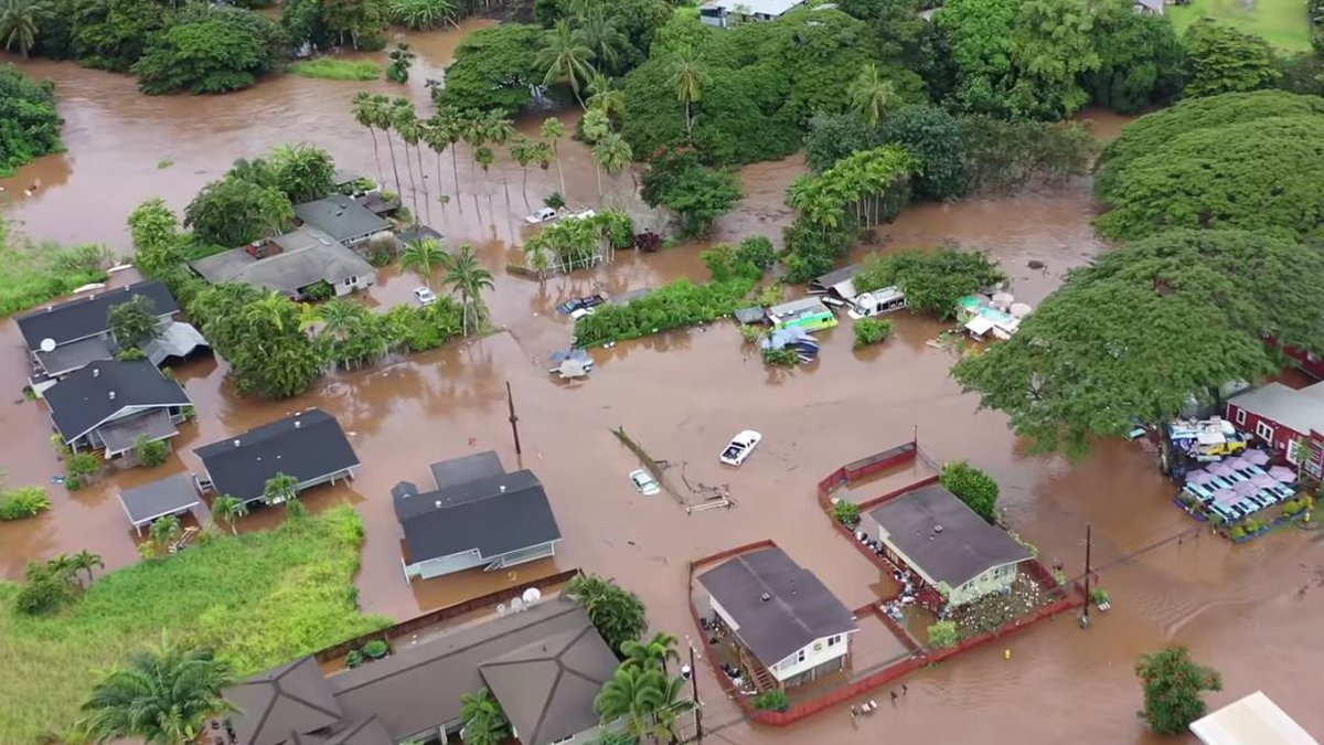 Severe flooding hit Oahu's North Shore on Tuesday, swamping homes and roads.