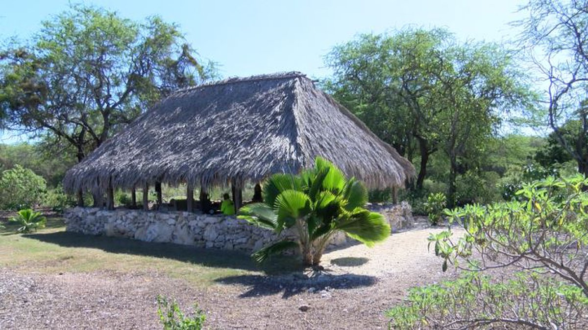 A replica of a pre-modern structure sits on the spot of land under the dispute.