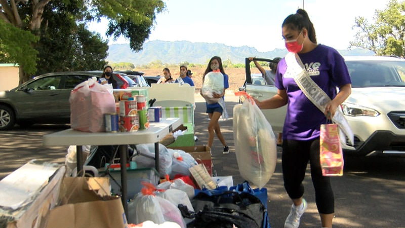 Dozens donated goods from pots and pans, cups, blankets, and canned goods.