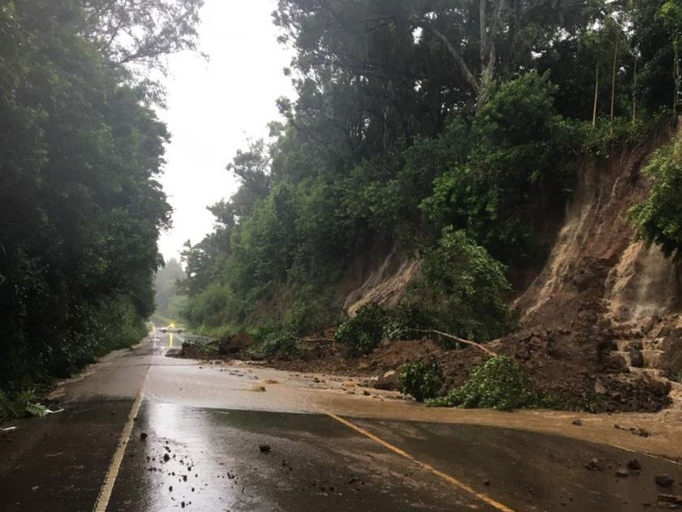 Akoni Pule Highway north of Hawi is closed after multiple landslides. (Image: state Department...