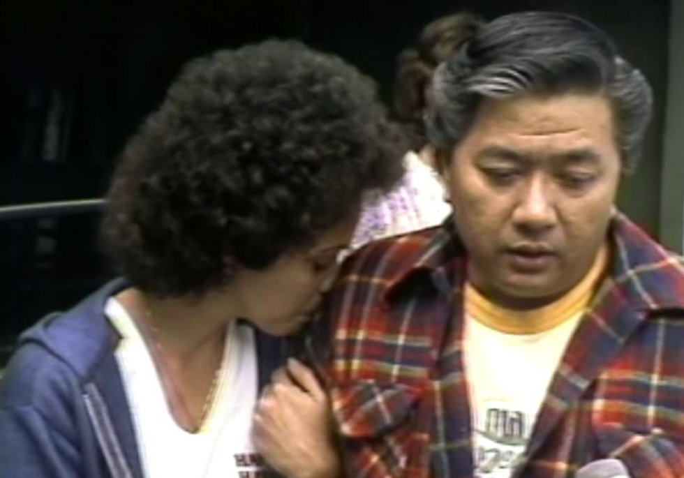 Lisa Au's parents speak to the media as the search continued. (Image: KGMB)