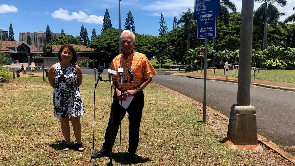 The mayor announced Friday a new plan to secure city parks. (Image: Hawaii News Now)