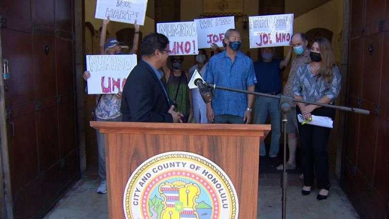 A small group of supporters held a news conference at Honolulu Hale Wednesday.