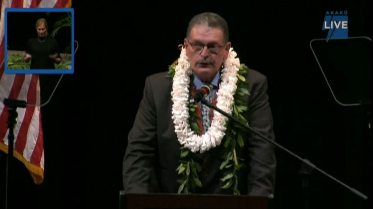 The mayor delivered his address at King Kekaulike High School, Tuesday.