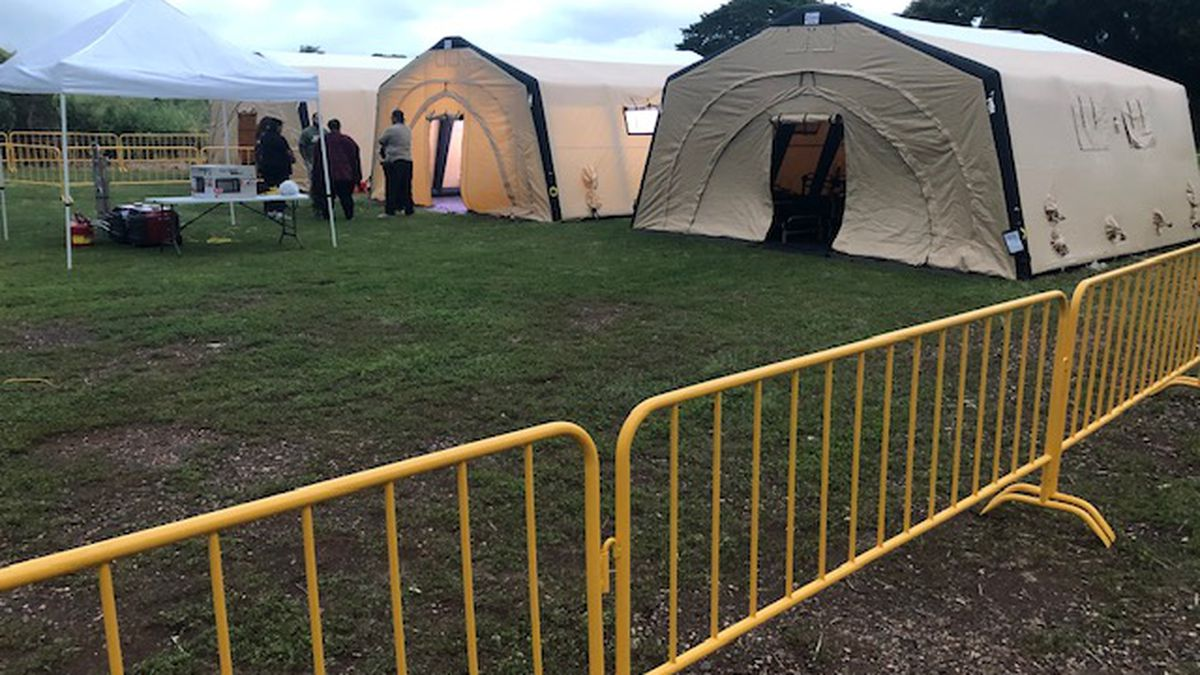 Inflatable tents in the Waipahu Cultural Garden Park make up the city's first mobile navigation...