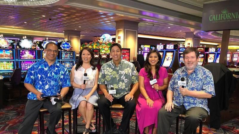 Sunrisers in Vegas – from left, Billy V, Grace Lee, Steve Uyehara, Lacey Deniz and the author.