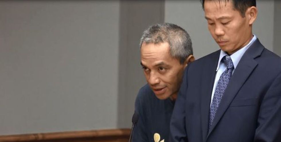 Peter Kema Sr. appears in court after his arrest in the 1997 murder of his son. (Image: Pool...