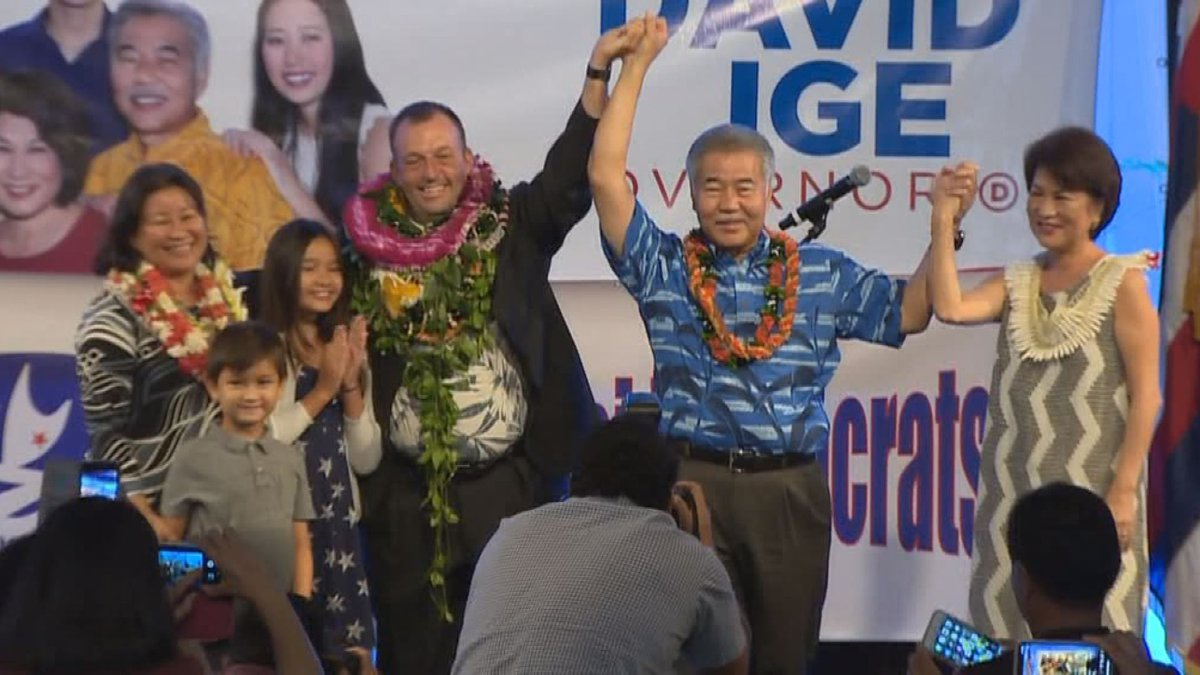 Gov. David Ige won his re-election bid Tuesday night, beating out Republican challenger Andria...