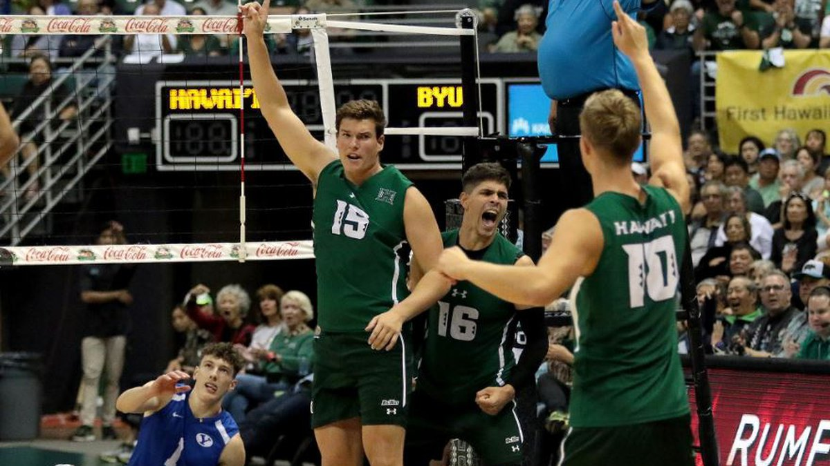 Patrick Gasman along with Filip Humler, celebrate following match point in UH's reverse sweep...