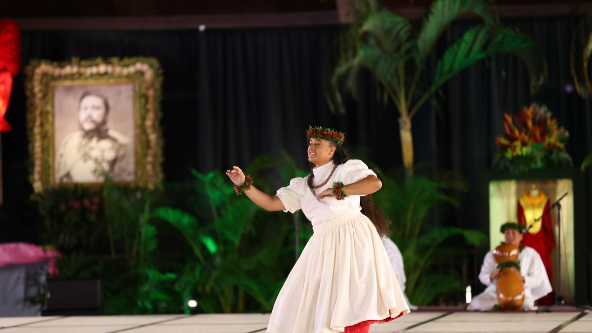 Rosemary Kaʻimilei Keamoai-Strickland (2021 Miss Aloha Hula Kahiko). Photographer: Cody...
