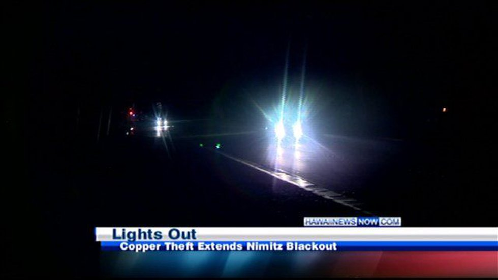 A third of the covered stretch of Nimitz was left in the dark.