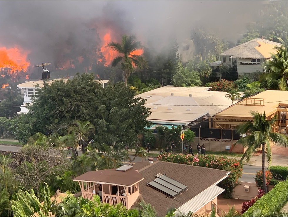 Flames could be seen erupting from several homes in Diamond Head on Sunday morning.