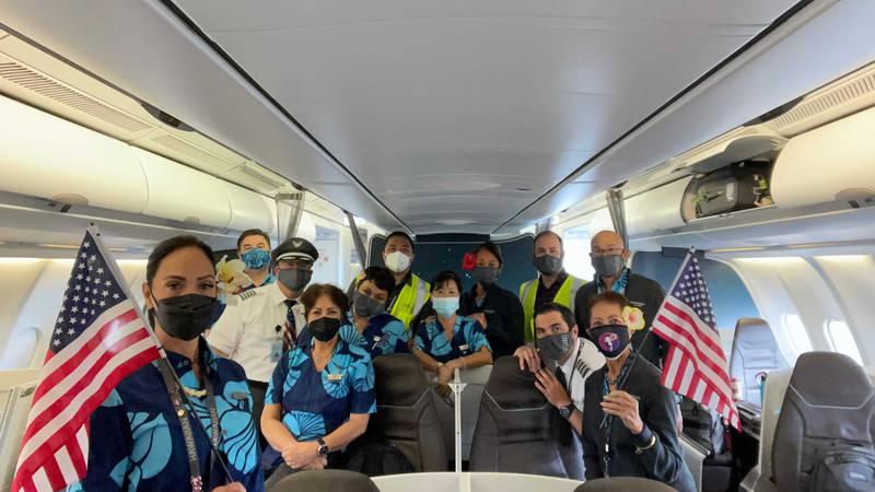 Crew members of a Hawaiian Airlines flight that ferried evacuees from Afghanistan.