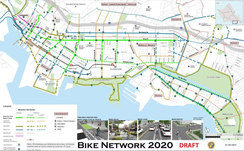 A draft of existing and proposed bike lanes (image: city and county of Honolulu)