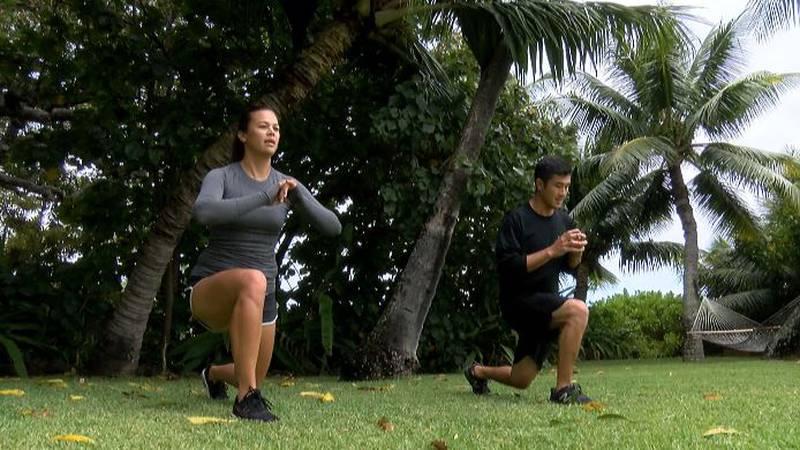 Larissa Nordyke and Dane Nishikawa utilizing home workouts while being home.