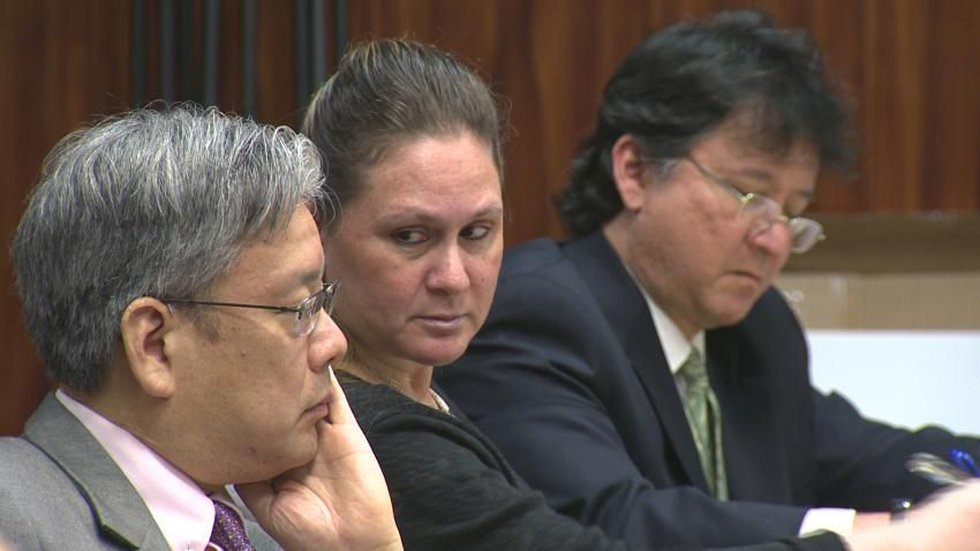 Katherine Kealoha (center) confers with her attorneys during a civil suit. (Image: Hawaii News...