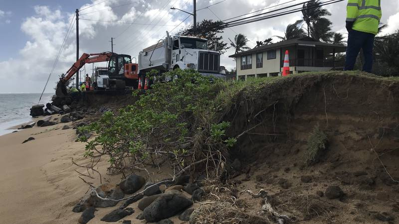 Experts say highway collapse in Hauula is latest example of impacts of sea level rise.
