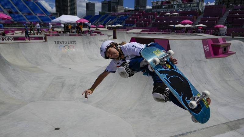 Jordyn Barratt of the United States takes part in a women's park skateboarding practice session...