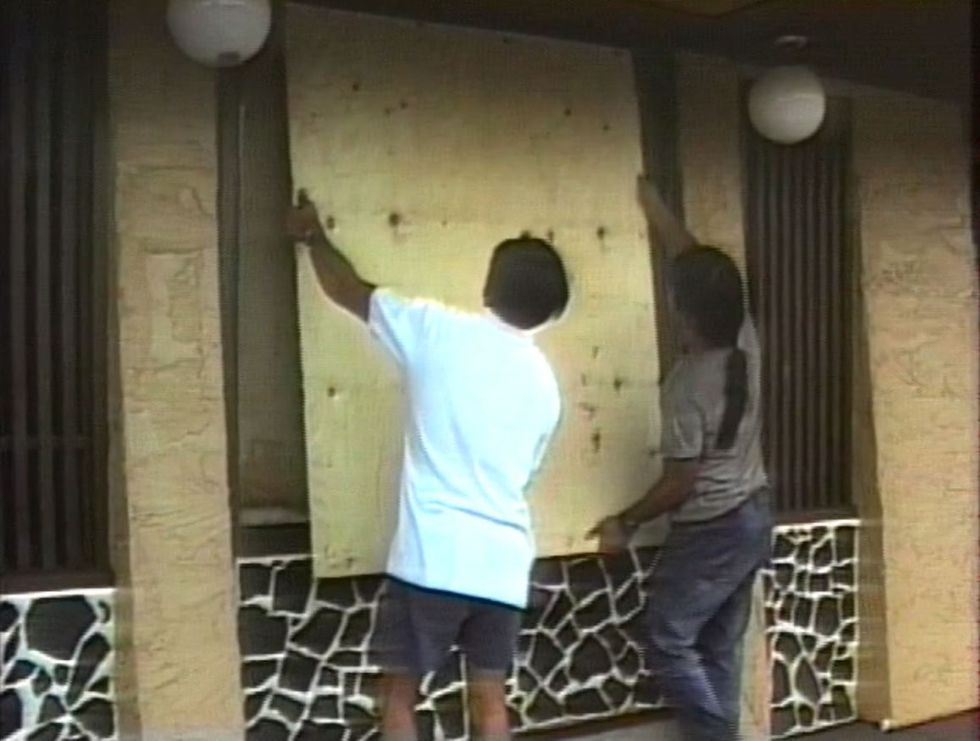 Residents boarded up their windows ahead of the storm.