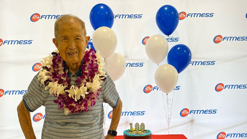 Dr. James Chou celebrated his 100th birthday at ... the gym.