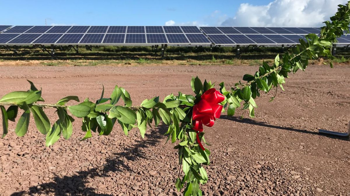 A maile lei signifies a ceremonial beginning for the West Loch Solar Facility.