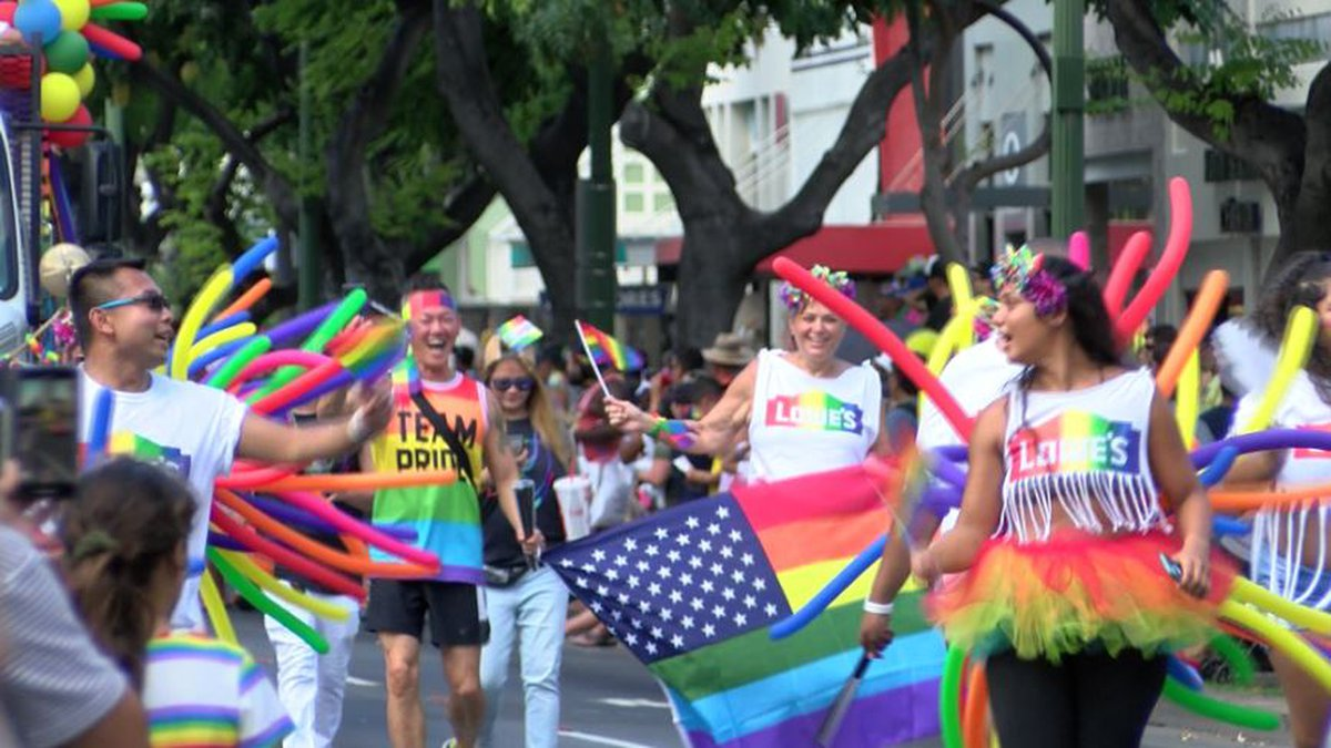 Thousands lined the streets of Waikiki Saturday for the Honolulu Pride parade.