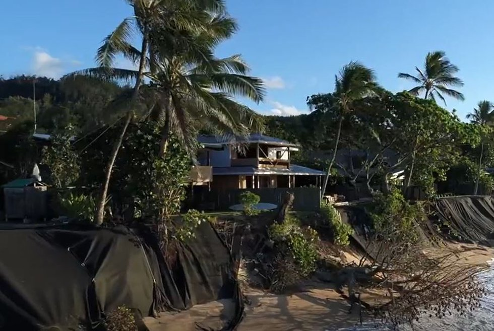Temporary measures are being taken to protect property from worsening erosion along Oahu's...