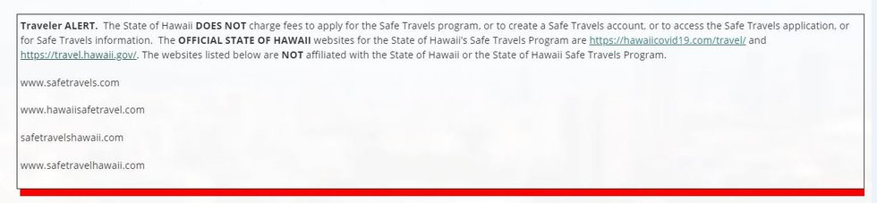 State warning about questionable traveler websites