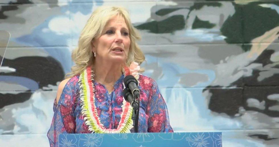 At Waipahu High, First Lady Jill Biden thanks educators while encouraging vaccines