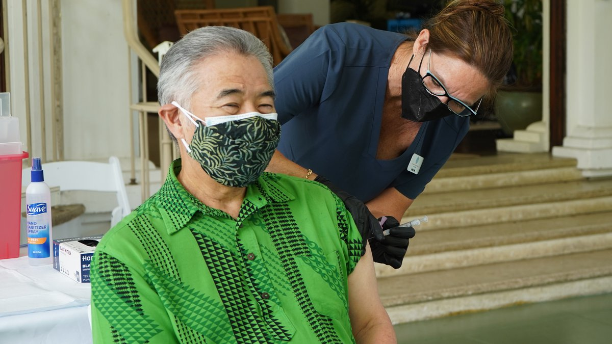 The governor received his first dose of the COVID vaccine Monday.