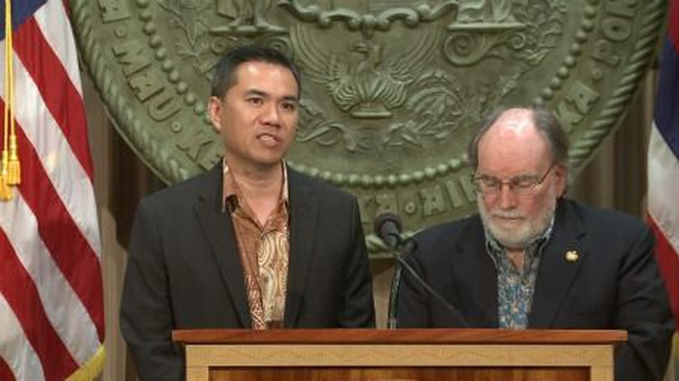 Budget and Finance Director Kalbert Young and Gov. Neil Abercrombie