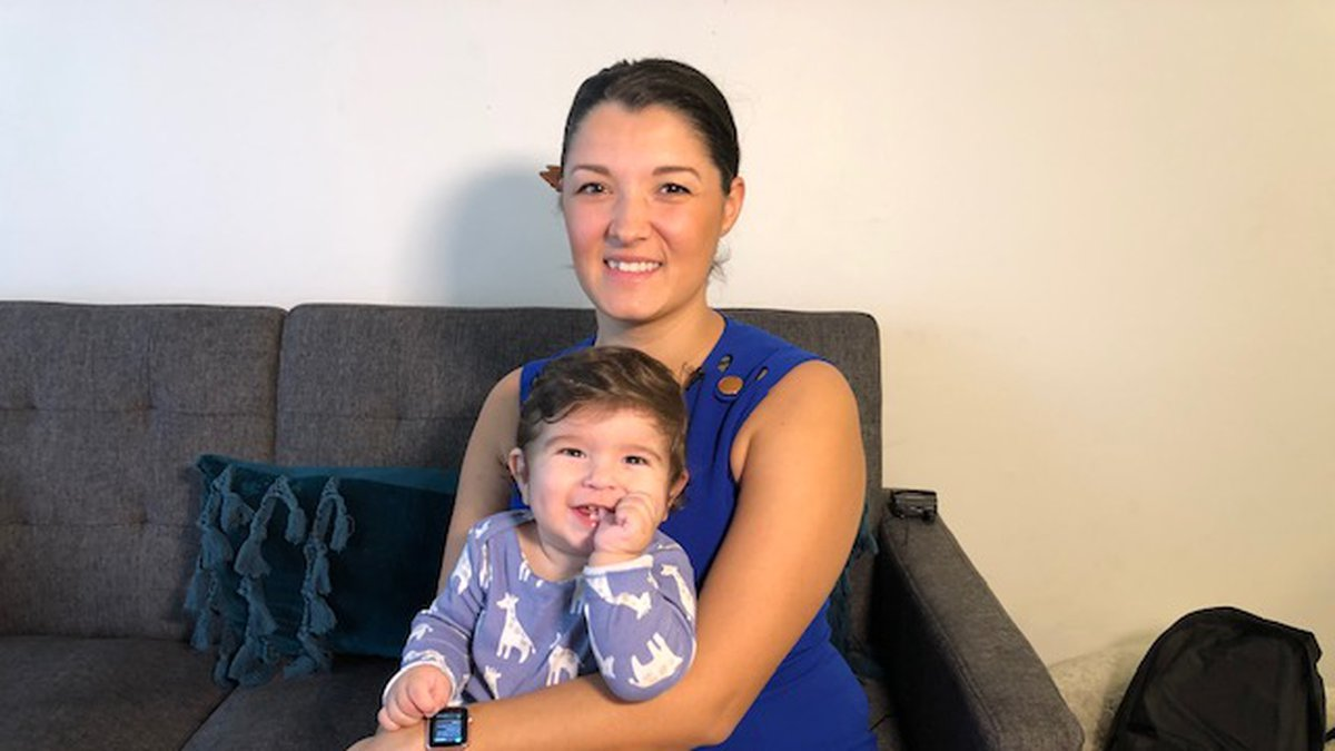 Karina Case holds her son, Alfredo. The child suffers from a rare condition called congenital...