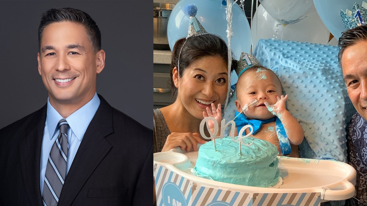 Hawaii News Now 5 p.m. news anchor Shawn Ching poses for a photo with his son, Eli, and wife,...
