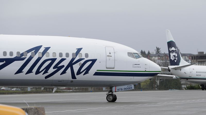 File photo of an Alaska Airlines plane (AP Photo/Ted S. Warren,File)