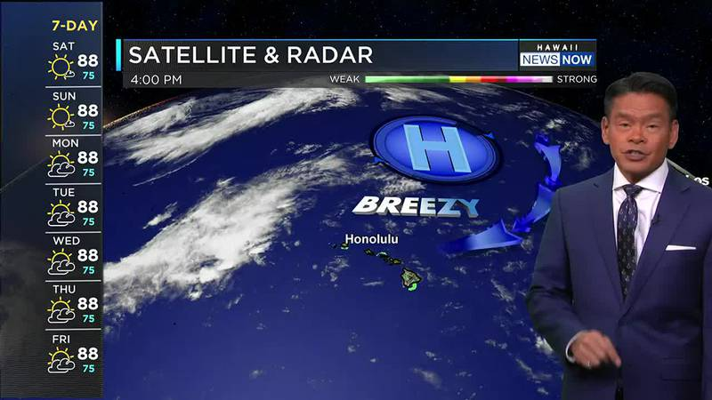 Trade winds will be strongest on Sunday, with mostly dry conditions.