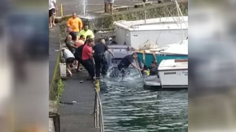 A bystander captured video of a dramatic rescue at the Hilo docks on Wednesday.