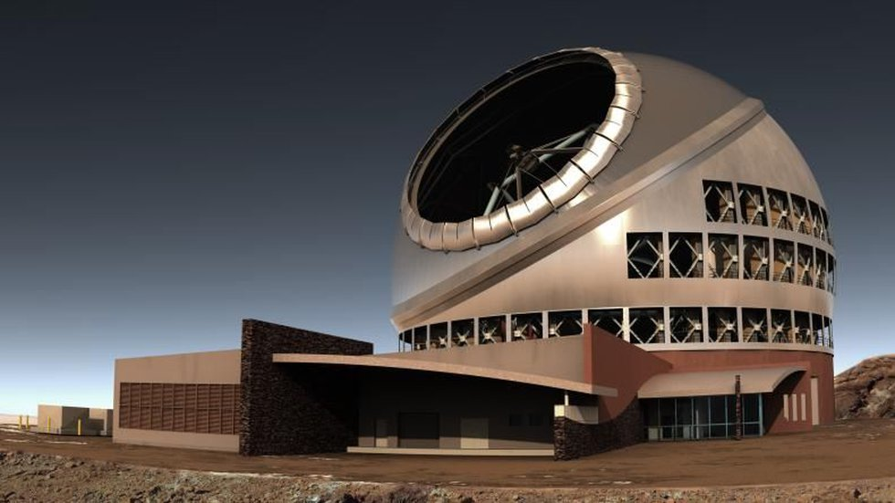 A photo-illustration of the Thirty Meter Telescope