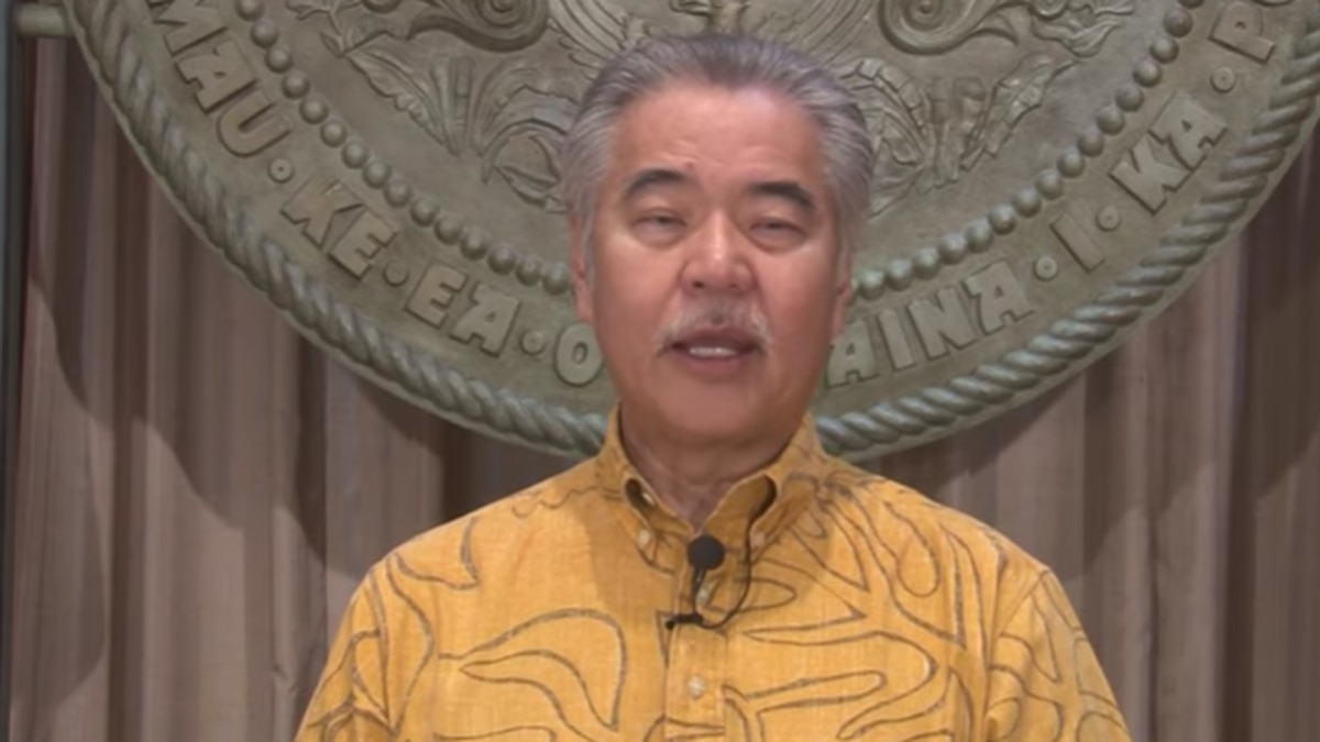 Gov. David Ige delivered a video address to state workers on Tuesday.