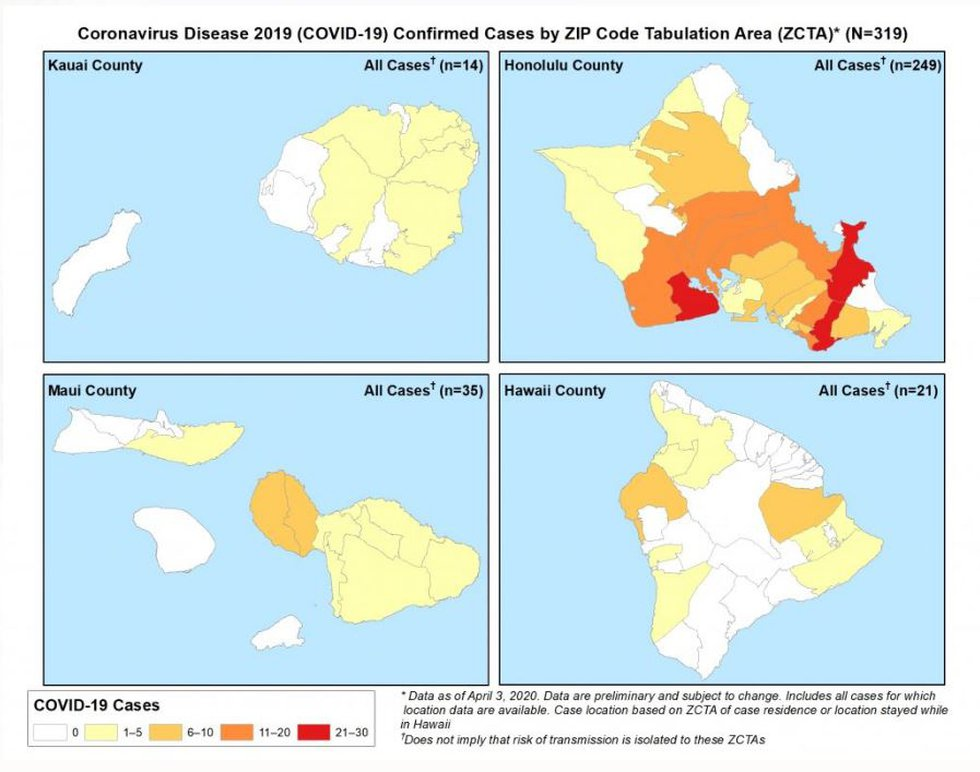 This map outlines the location of the cases. Light yellow represents 1-5 cases while red is 21...