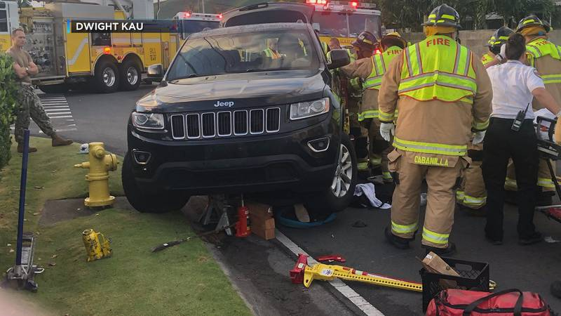 Emergency personnel responded to a crash involving two boys riding their bicycles in Kailua...